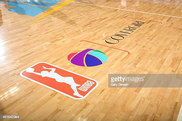 An image of the WNBA Pride logo for the first ever nationally televised Pride game between the Tulsa Shock and the Chicago Sky on June 22 2014 at the...