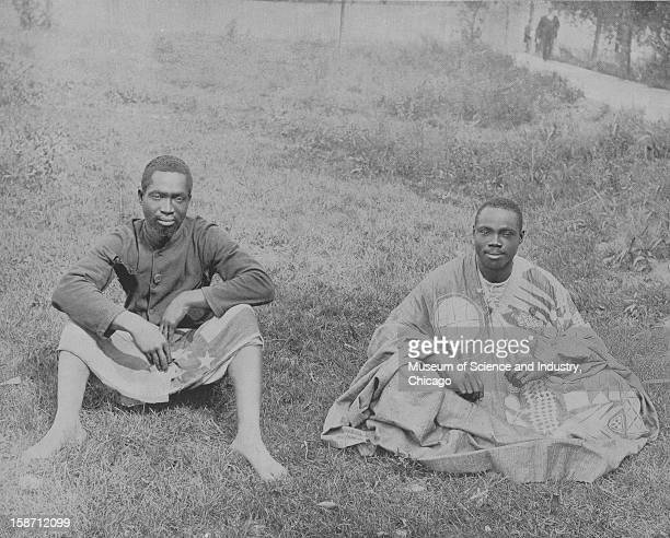 An image of two men from far away Dahomey at the World's Columbian Exposition in Chicago Illinois 1893 This image was published in 'The Dream...