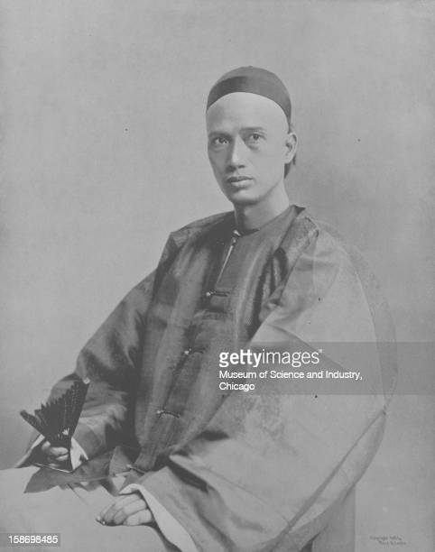 An image of Wong Ki the architect of the Chinese Building and decorator and designer of the Joss House in traditional garb as seen at the World's...