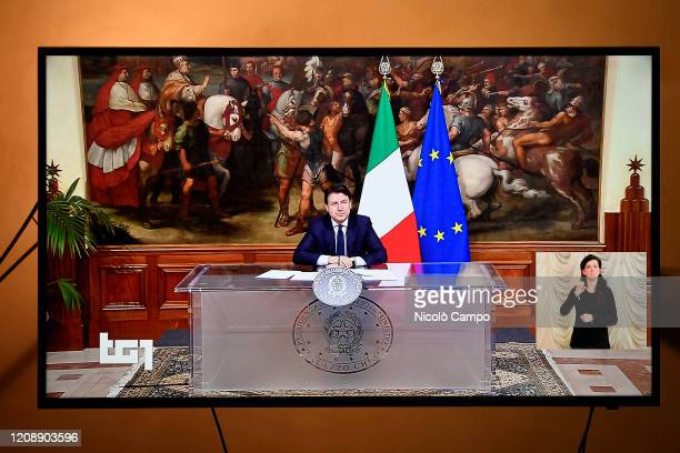 An image on television of Italian Prime Minister Giuseppe Conte broadcast by channel RAI 1 announcing to the Italian people the extension of the...