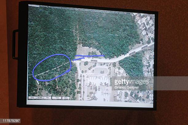An image projected on a courtroom monitor shows a photo entered into evidence in the Casey Anthony trial at the Orange County Courthouse in Orlando...