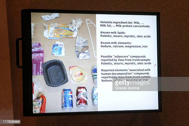 An image projected on a courtroom monitor shows a portion of a Powerpoint presentation entered into evidence at the Casey Anthony trial at the Orange...