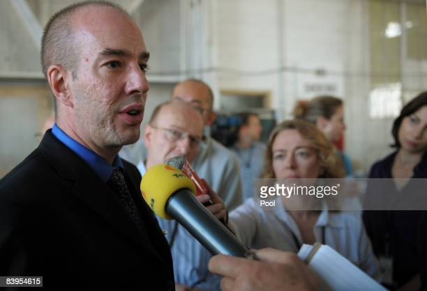 An image reviewed by the US military shows American Civil Liberties Union Executive Director Anthony Romero speaking to journalists in the hanger...