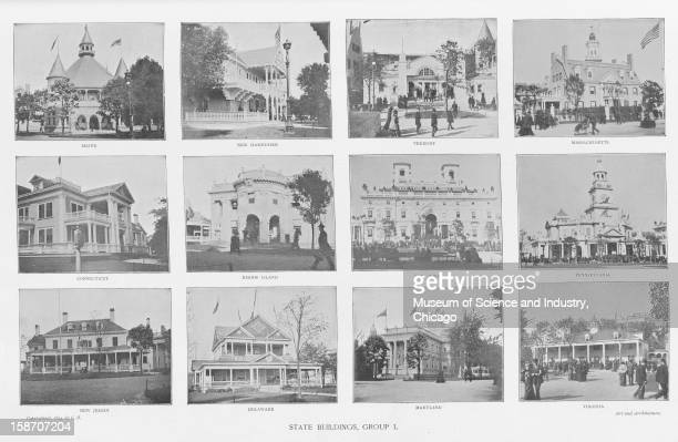 An image showing the State Buildings group 1 as published in 'The Art And Architecture Of The World's Columbian Exposition The Architecture' George...