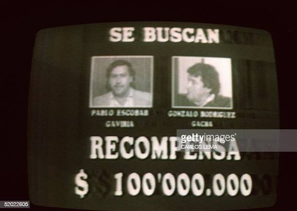 An image taken 06 September 1989 from Colombian television of a wanted advertisement for Medellin drug cartel leaders Pablo Escobar and Gonzalo...