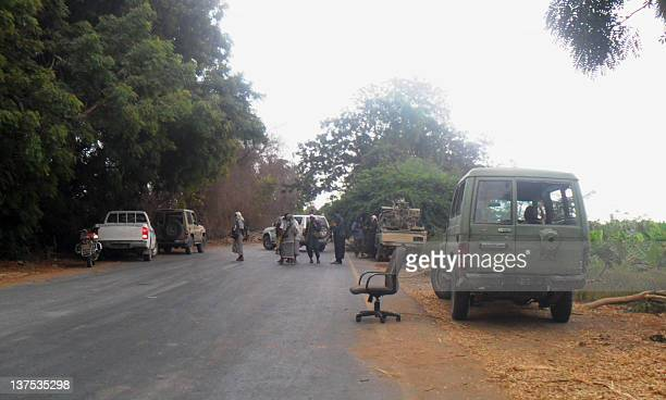 An image taken on January 21 shows a checkpoint setup by militants loyal to Jalal alBlaidy also known as Abu Hamza leader of the Ansar alSharia an...