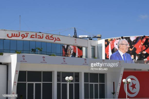 An image taken on September 25 2018 shows the headquarters of Nidaa Tounes the party of the Tunisian president in the capital Tunis Tunisian...