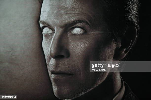 An images of David Bowie is displayed as art installations on April 20 2018 in New York NY A Bowie exhibition inside BroadwayLafayette subway station...