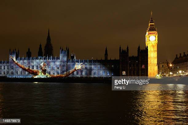 An images of reigning Olympic Men's 100m and 200m champion Usain Bolt is projected onto the House of Parlilament and Big Ben in a ceremony to mark...
