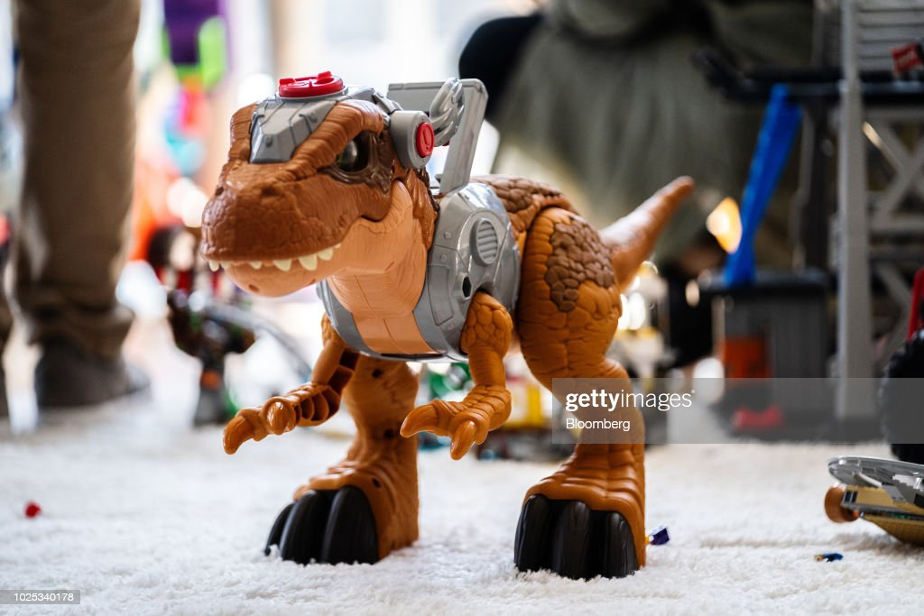 An Imaginext Jurassic World brand dinosaur toy during a
