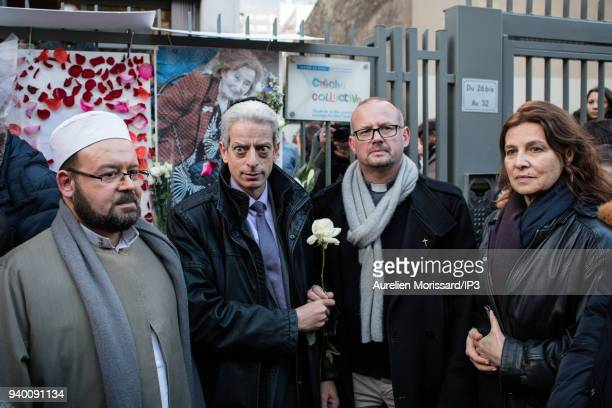 An imam a rabbi and a priest and the Israeli Ambassador to France Aliza Bin Noun at the Silent March In Memory Of Mireille Knoll who survived the...