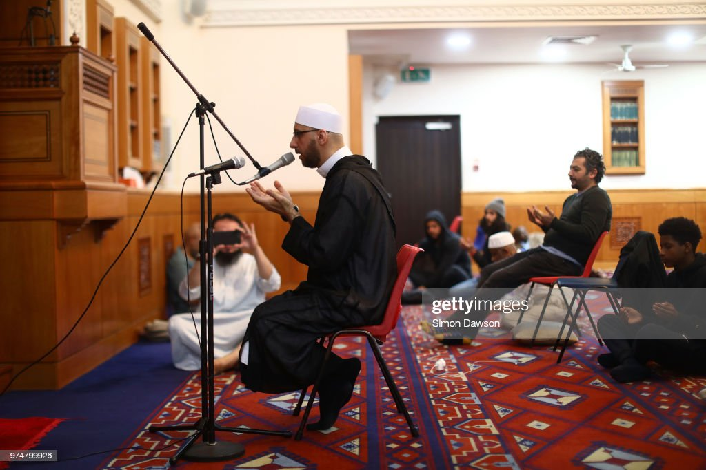 An Iman prays for Grenfell victims at Al Manaar Mosque on the one year anniversary of the Grenfell Tower fire on June 14, 2018 in London, England. The Al Manaar Muslim centre and mosque immediately opens its doors and took in many survivors of the Grenfell Tower fire. It become a shelter and focal point for the community during the aftermath. The fire took place one year ago today (14th June 2017) with 72 people dying as a result of the blaze.