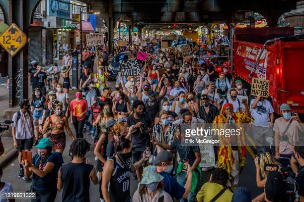 An immense crowd of protesters marching down the streets of BedStuy Hundreds of Brooklynites joined Democratic candidate for US House New York...