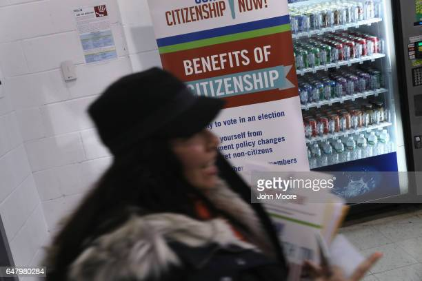 An immigrant arrives to receive assistance to complete her US citizenship application at a CUNY Citizenship Now event held in the Bronx on March 4...