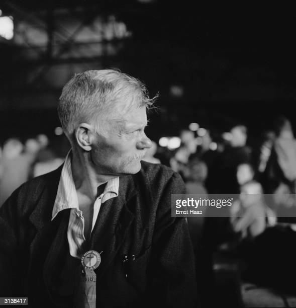 An immigrant at Ellis Island New York 1951 He has just arrived on board the USS General R M Blatchford which brought displaced persons from postwar...