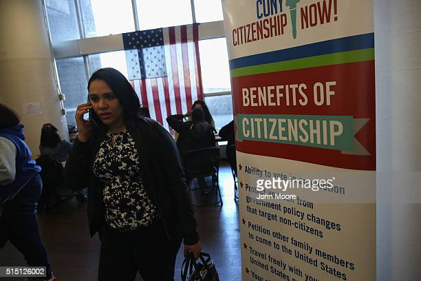 An immigrant waits to apply for American citizenship at a Citizenship Now event held by the City University of New York on March 12 2016 in the Bronx...