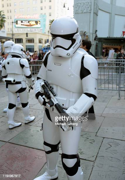 """An Imperial stormtrooper poses at the IMAX opening of """"Star Wars: The Rise Of Skywalker"""" at TCL Chinese Theatre on December 19, 2019 in Hollywood,..."""