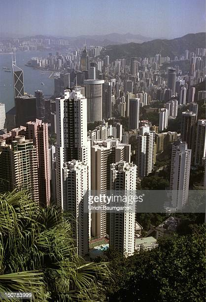 An imposing picture a view off the Peak the building mountain from the city at the skyline of Hong KongIsland
