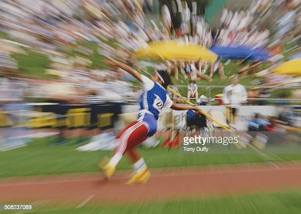 An impression image of movement and speed from the throwing of a javelin at the IAAF World Cup in Athletics on 6th October 1985 at the Bruce Stadium...