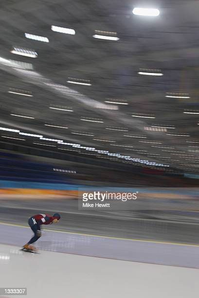 An impression of Jason Hedstrand of the United States during the men's 10000m speed skating event during the Salt Lake City Winter Olympic Games on...