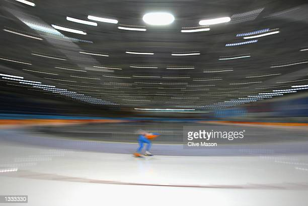An impression of Jochem Uytdehaage of the Netherlands during the men's 10000m speed skating event during the Salt Lake City Winter Olympic Games on...