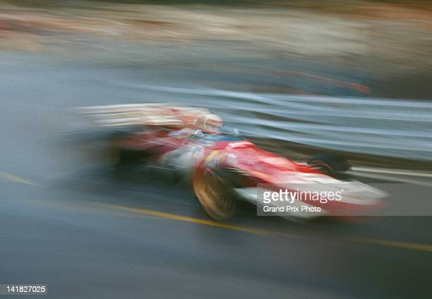 An impression of speed as Clay Regazzoni of Switzerland drives the Scuderia Ferrari 312B2 Ferrari F12 during the Monaco Grand Prix on 23rd May 1971...