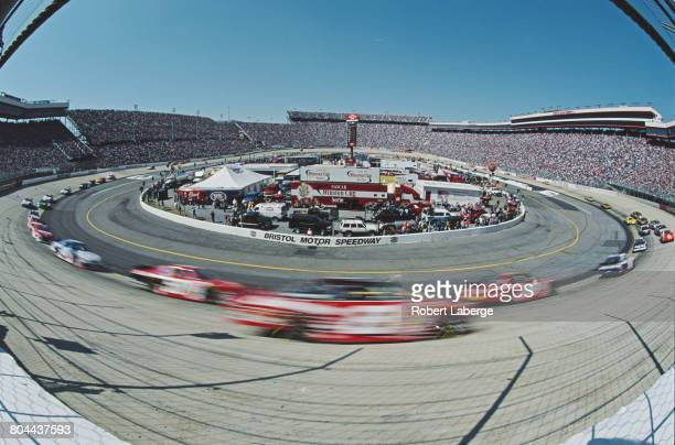 An impression of speed during the 2001 NASCAR Winston Cup Series Food City 500 on 25 March 2001 at the Bristol Motor Speedway Bristol Tennessee...