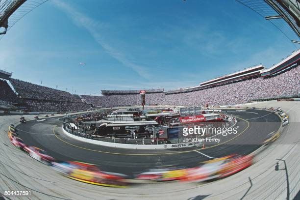 An impression of speed during the 2002 NASCAR Winston Cup Series Food City 500 on 25 March 2002 at the Bristol Motor Speedway Bristol Tennessee...