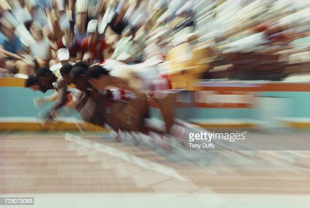 An impression of speed from the start of a heat for the Men's 100 metres event at the XXIII Olympic Summer Games on 3 August 1984 at the Los Angeles...