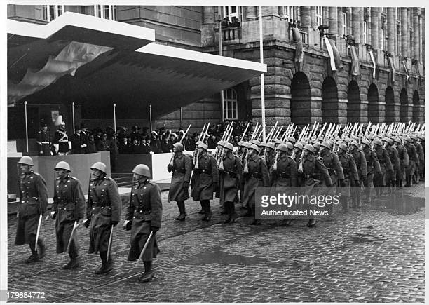 An impressive military review staged in Prague in honor of the Romanian ruler King Carol of Romania in Prague Czechoslovakia