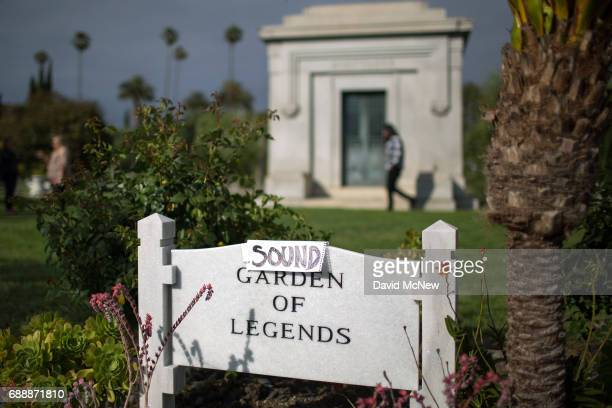 An improvised sign turns the Garden of Legends to the Sound Garden of Legends where Chris Cornell is buried following funeral services for...