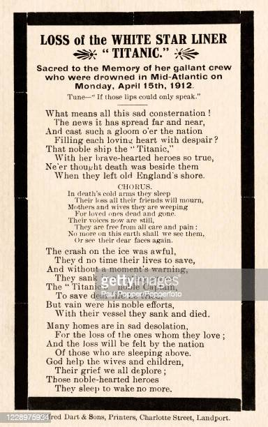 An In Memoriam card commemorating the gallant crew of the White Star Line's SS Titanic which sank after hitting an iceberg on her maiden voyage from...