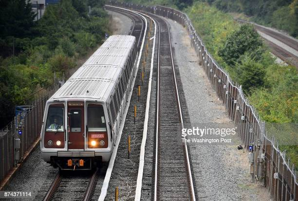 An inbound trains makes its way to the Rockville Station after leaving Shady Grove along Metro's Red Line September 18 2017 in Rockville MD