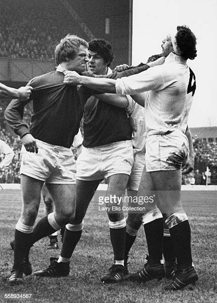 An incident involving England rugby union player Bill Beaumont during an England V Scotland match at Twickenham south west London circa 1977