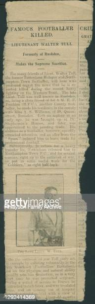 An incomplete newspaper report of the death of 2nd Lt Walter D Tull, referring to his successful football career with Tottenham Hotspur and...