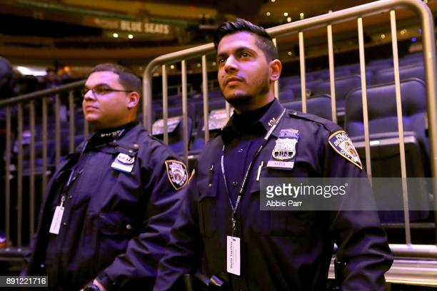 An increased amount of security officers work the New York Knicks v Los Angeles Lakers game at Madison Square Garden on December 12 2017 after...
