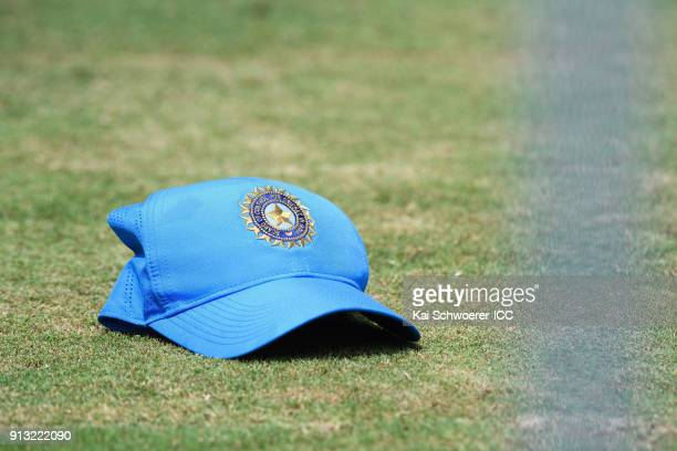 An India cap is seen during an India training session at Bay Oval on February 2 2018 in Tauranga New Zealand