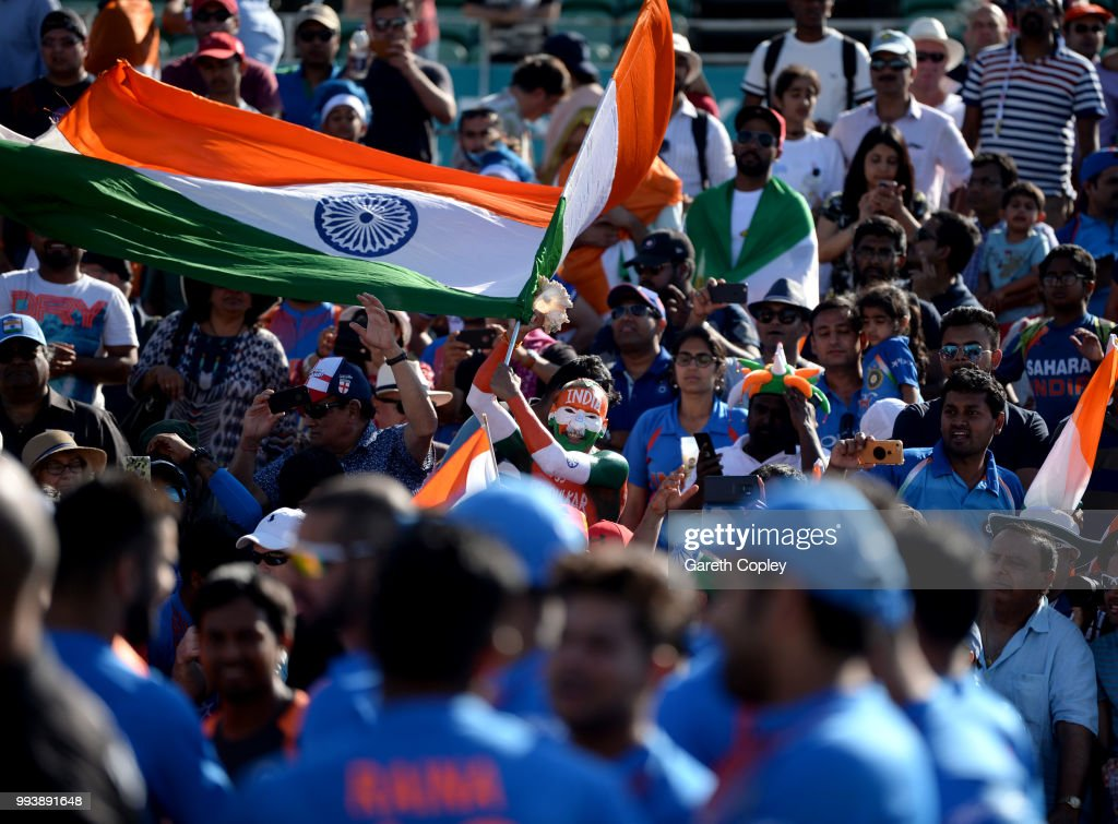 An India fan celebrates winning the Vitality International T20 series between England and India at The Brightside Ground on July 8, 2018 in Bristol, England.