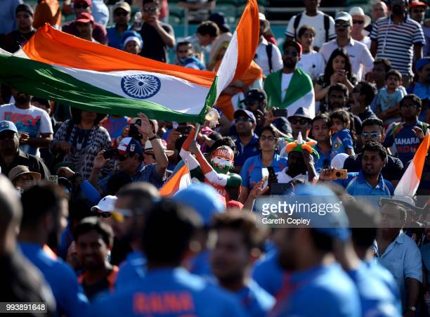 An India fan celebrates winning the Vitality International T20 series between England and India at The Brightside Ground on July 8 2018 in Bristol...