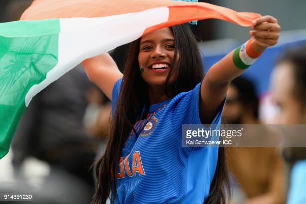 An India fan shows her support during the ICC U19 Cricket World Cup Final match between Australia and India at Bay Oval on February 3 2018 in...