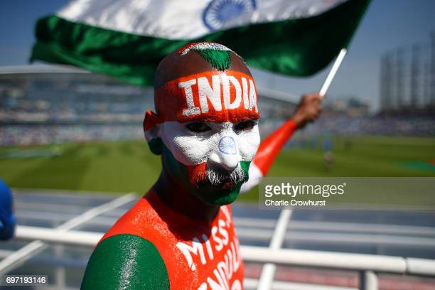 An India fan wearing face paint during the ICC Champions Trophy Final match between India and Pakistan at The Kia Oval on June 18 2017 in London...
