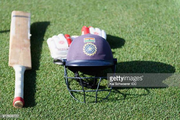 An India helmet bat and gloves are seen prior to the ICC U19 Cricket World Cup Semi Final match between Pakistan and India at Hagley Oval on January...