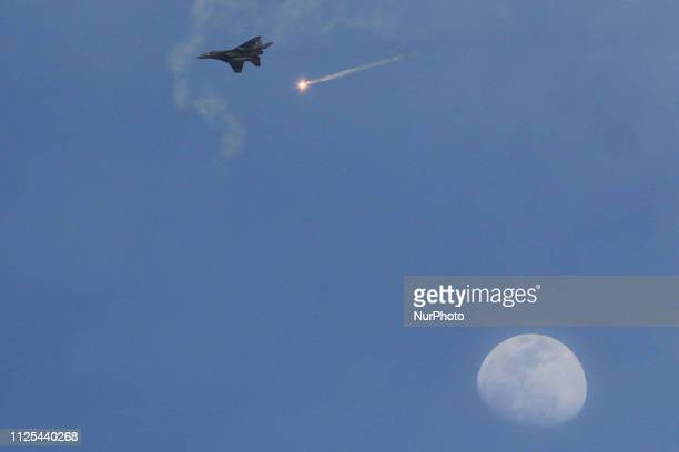 An Indian Air Force fighter aircraft during an Indian Air Force excercise named ' Vayu Shakti2019' at the Air Force firing range of Pokhran Rajasthan...