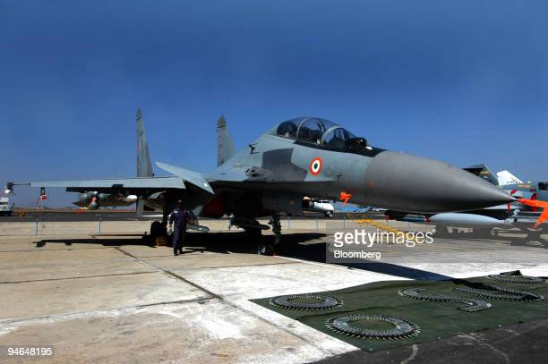 An Indian Air force fighter jet Sukhoi 30 is seen on display during the Aero India 2007 air show in Bangalore India on Friday Feb 9 2007