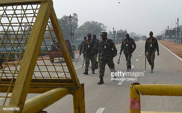 An Indian army bomb detection unit leave after carrying out a security check at Rajpath near India Gate where the nation's main Republic Day parade...