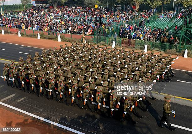An Indian Army contingent march during the full dress rehearsal for the upcoming Indian Republic Day parade in New Delhi on January 23 2017 Crown...