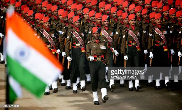 An Indian Army contingent marches during India's 69th Republic Day Parade in New Delhi on January 26 2018 India is marking its 69th Republic Day /...