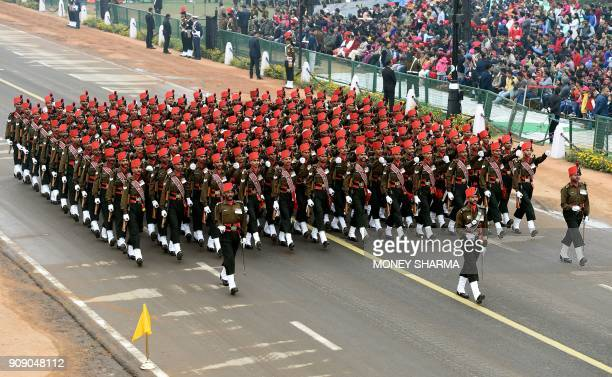 An Indian army contingent marches during the full dress rehearsal for the upcoming Indian Republic Day parade in New Delhi on January 23 2018 India...