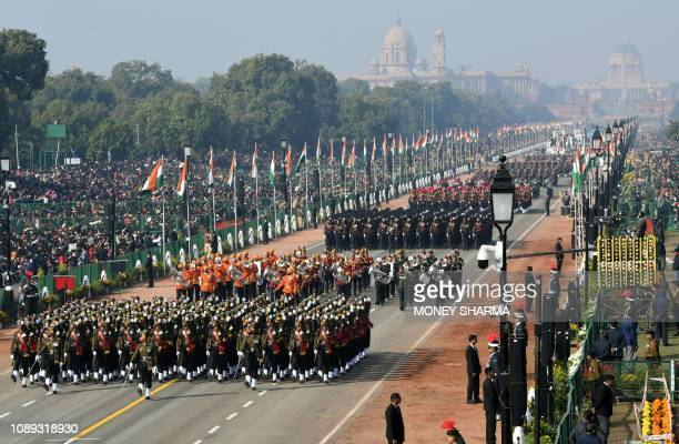An Indian army contingents marches during the Republic Day parade in New Delhi on January 26 2019 India celebrated its 70th Republic Day