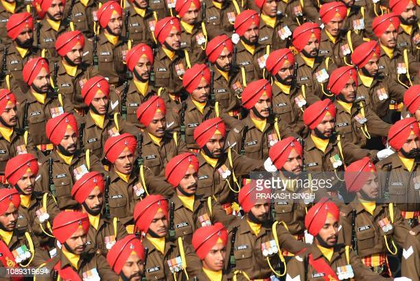 An Indian Army Sikh Contingent marches during the 70th Republic Day parade in New Delhi on January 26 2019 India celebrated its 70th Republic Day